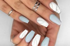 11 matte white marble and grey nails for a trendy modern look