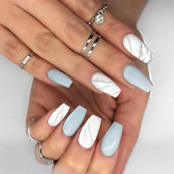 matte white marble and grey nails for a trendy modern look