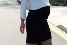12 a black mini skirt, a white shirt and ankle strap shoes is a timeless and stylish look