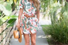 12 a tropical print shirt dress, a brown suede sash and a bag for a relaxed weekend look