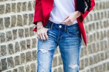 12 boyfriend jeans, a white printed tee, a red blazer and black strappy heels