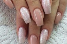 12 dusty pink and silver glitter nails for parties or just for summer