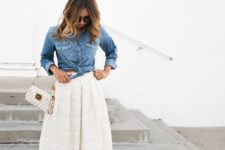 13 a midi ivory lace skirt, a tie chambray shirt and criss cross ankle suede shoes