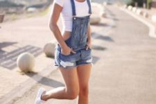 13 a white crop tee with a denim overall and white sneakers is a simple and cute casual summer look