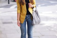 13 distressed jeans, a black shirt, a mustard blazer and nude shoes for a bold look
