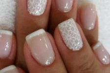14 French manicure with white lace accent nails