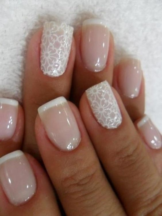 French manicure with white lace accent nails
