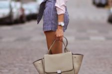 14 a blush shirt and plaid navy and blush shorts, nude strappy heels and a bag