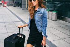 14 a simple black mini dress and a denim jacket with some sneakers are right what you need