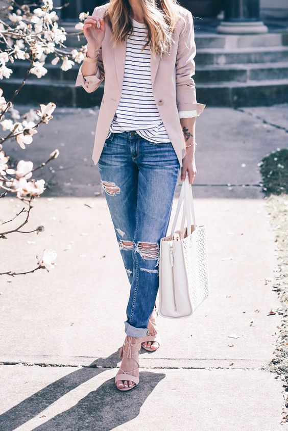 distressed boyfriends, a striped top, blush lace up heels and a dusty pink blazer
