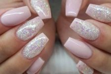 14 pink and pink glitter coffin nails for a cute glam look