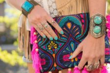 14 super colorful embroidered clutch with hot pink tassels