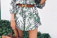 14 tropical off the shoulder romper, camel heels and a belt with a bag