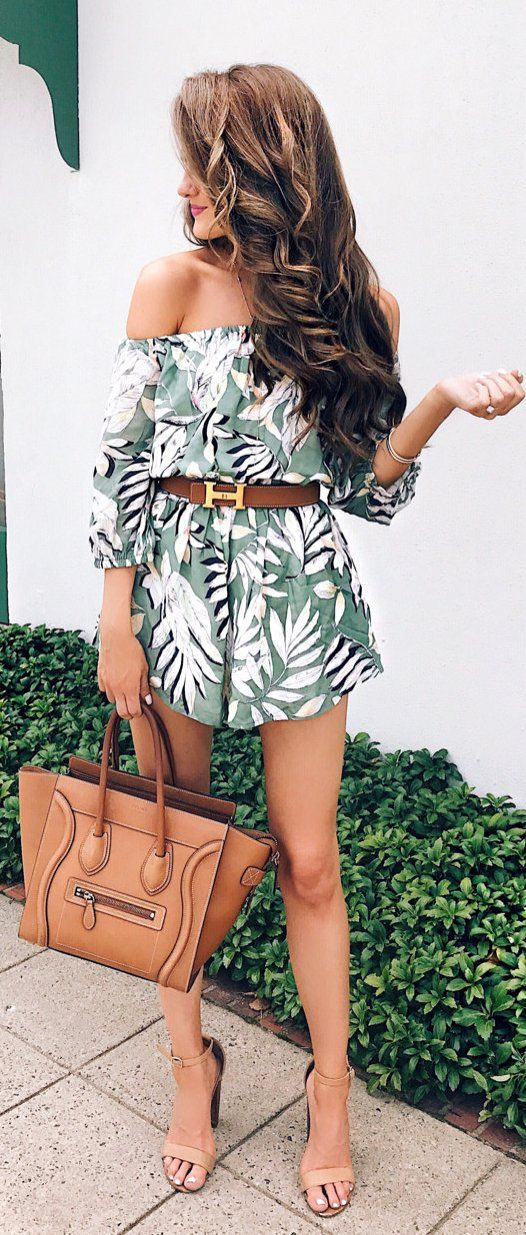 tropical off the shoulder romper, camel heels and a belt with a bag