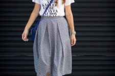 15 a printed tee, a statement necklace, a gingham midi skirt and ankle strap sandals