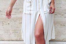15 a striped shirt dress and blush tassel heels