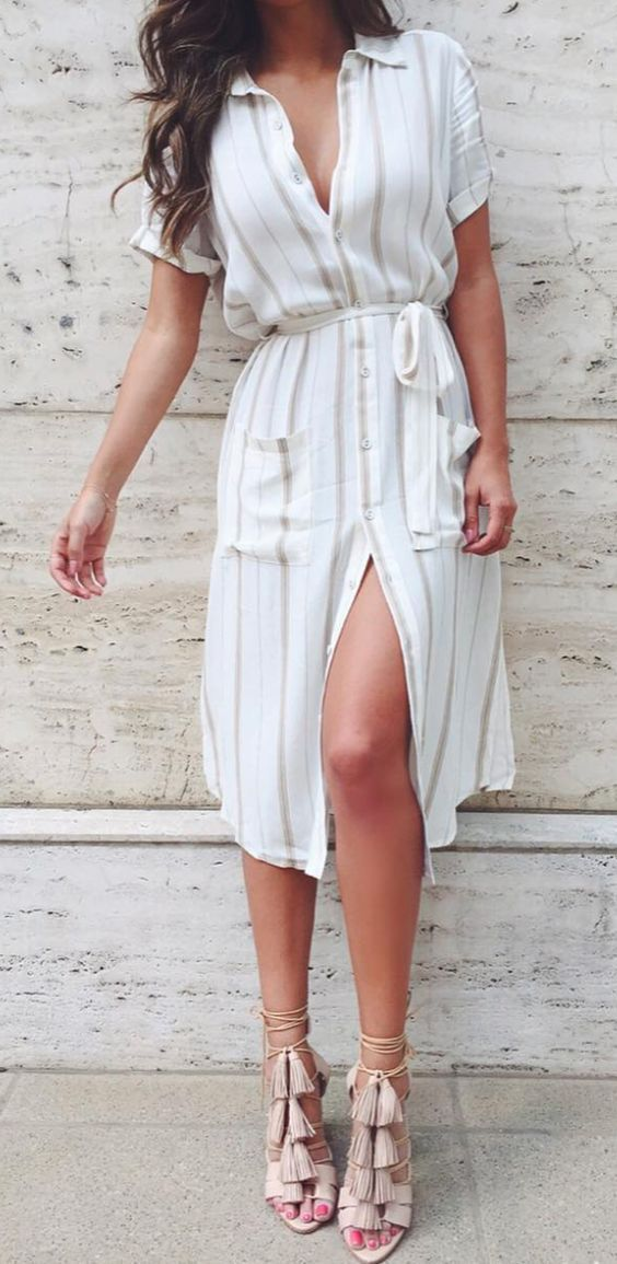 a striped shirt dress and blush tassel heels