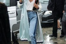 15 cropped jeans, a white lingerie-style top, a mint summer coat and yellow heels