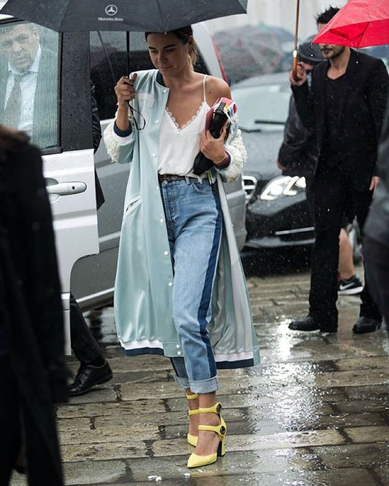 cropped jeans, a white lingerie style top, a mint summer coat and yellow heels