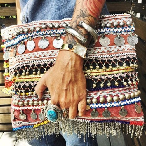 gypsy inspired clutch with beads, rhinestones, coins, chains and other detailing
