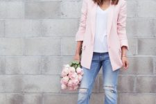 16 distressed blue boyfriends, a white top, a pink blazer and snake print lace up shoes