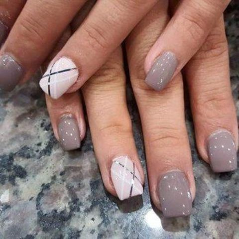 grey nails and striped geometric white ones for an accent