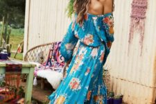 16 off the shoulder teal dress with long sleeves and a ruffled skirt, colorful floral printing