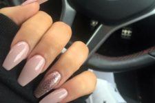 16 pink nails and pink glitter accent nails for a cute girlish look