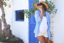 16 white denim shorts, a white tee, a chambray shirt and striped lace up flats