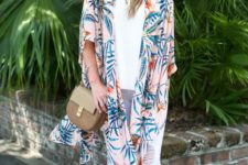16 white distressed jeans, a white top, mustard suede shoes and a pink tropical print kimono over