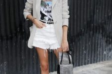 16 white distressed shorts, a printed tee, a neutral blazer, nude moccasins