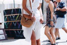 17 a white shirt dress, brown heels and a brown crossbody bag
