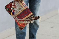 17 colorful gypsy clutch with pompoms and coins for a relaxed look
