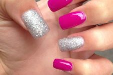 17 hot pink nails and silver glitter ones for a glam feel