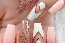 17 pink nails with a white chevron and rose glitter accent ones