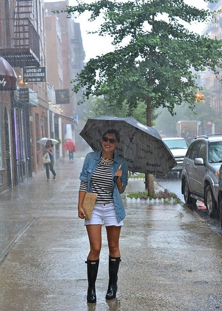 white denim shorts, a striped tee, a denim jacket and black rain boots - not hot and comfy