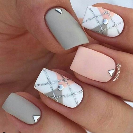 Picture Of Matte Pink Grey And White Nails With Beading For
