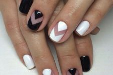 19 short square nails with black and white chevron accents