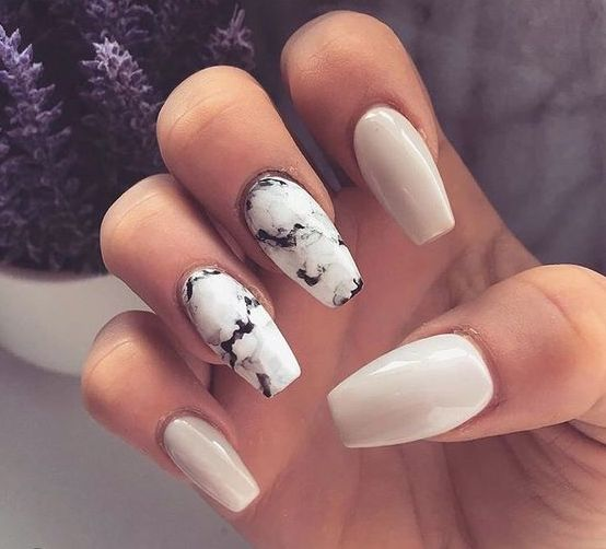 white and white marble nails for a clean minimalist look