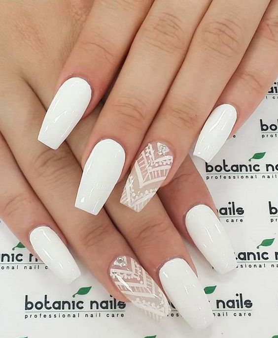 Picture Of White Nails And White Lace And Rhinestone