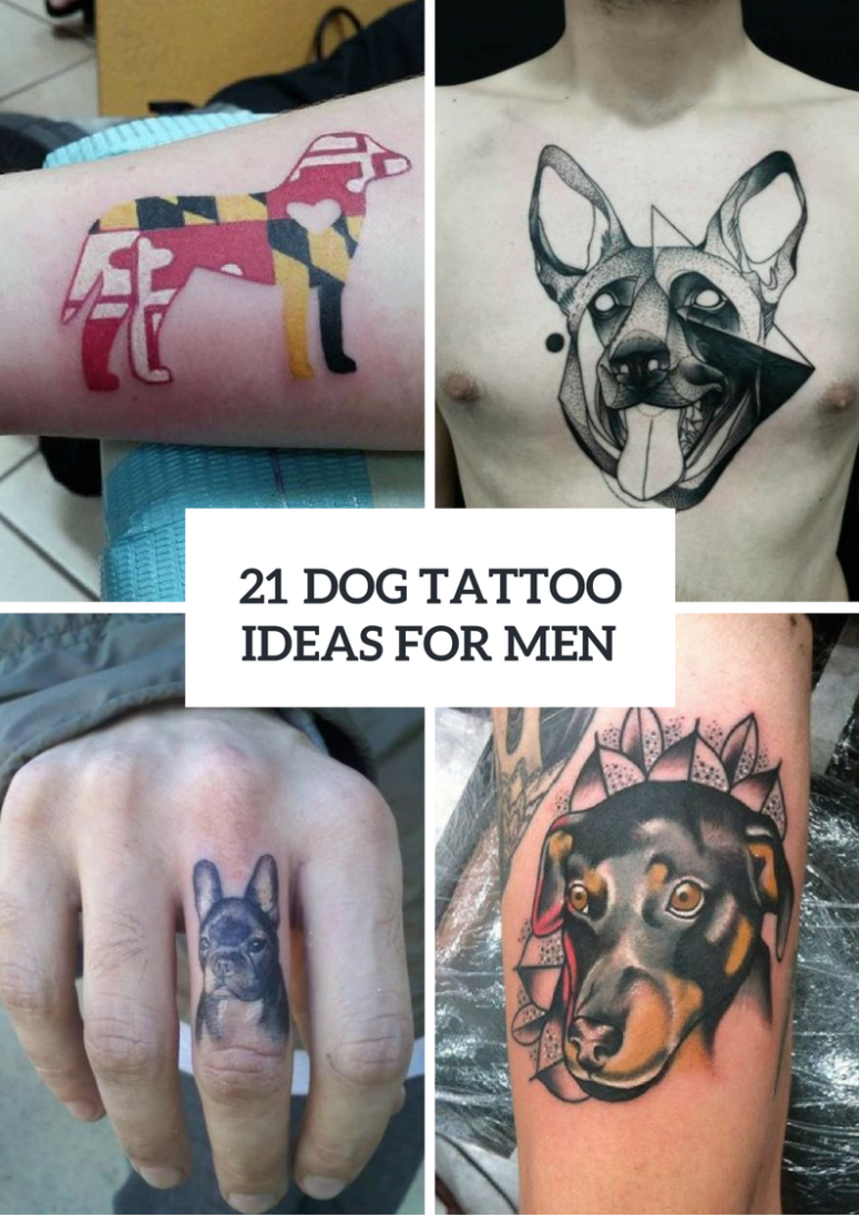 21 Cool Nail Art Ideas: 21 Cool Dog Tattoo Ideas For Guys