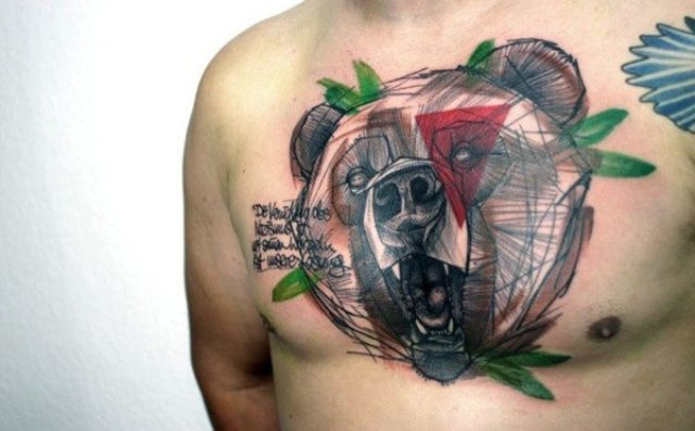 Abstract geometric tattoo on the chest