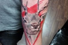 Abstract red background deer tattoo
