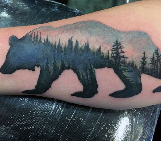 Bear and trees tattoo