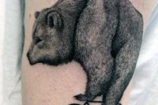 Bear on the bicycle tattoo