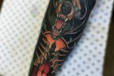 Bear tattoo on the forearm