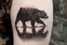 Bear tattoo with reflection