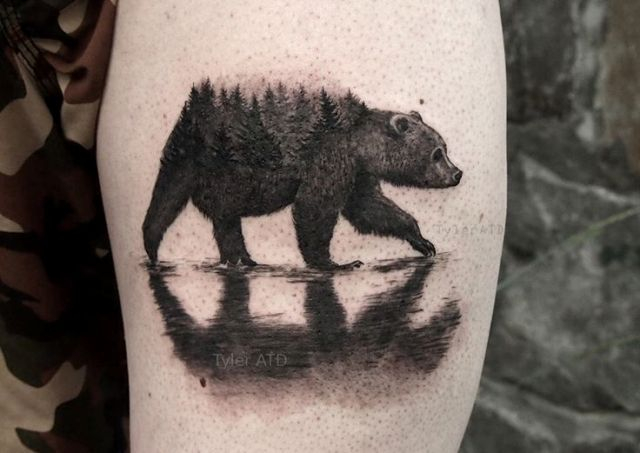 22 bear tattoo ideas for real men styleoholic. Black Bedroom Furniture Sets. Home Design Ideas