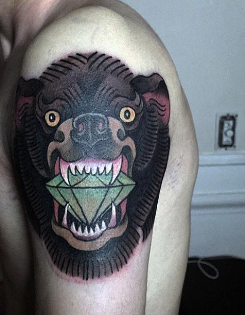 Bear with diamond tattoo