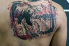 Bear with fishes on the back
